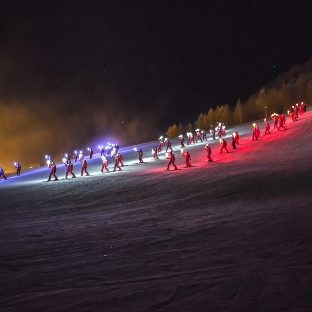 """Torchlit Ski Parade"" stock image"