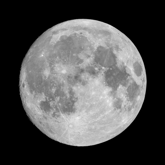 """Full moon on black sky background"" stock image"
