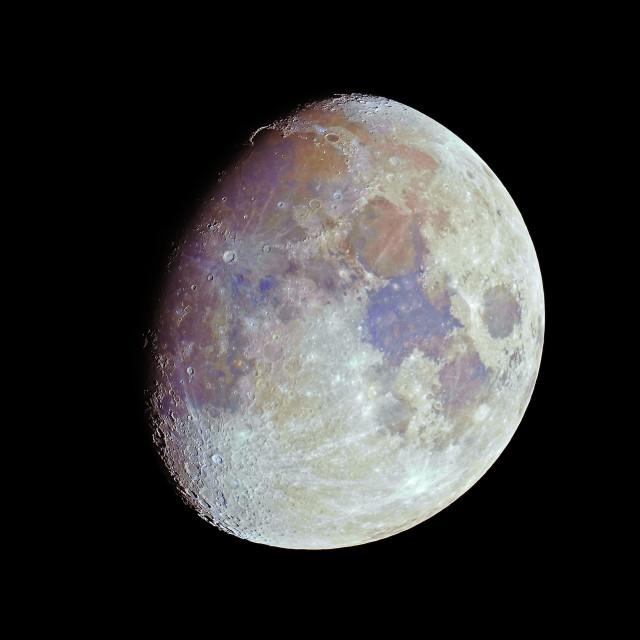 """""""Waxing gibbous color Moon on black sky"""" stock image"""