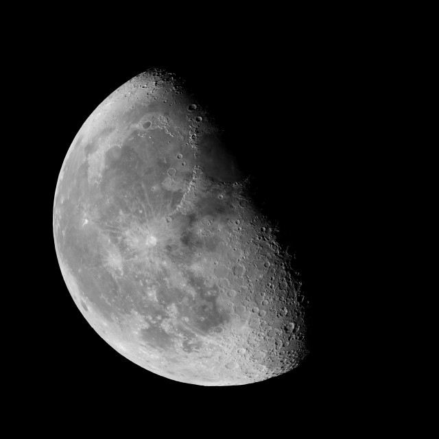 """Waning gibbous Moon against black sky"" stock image"