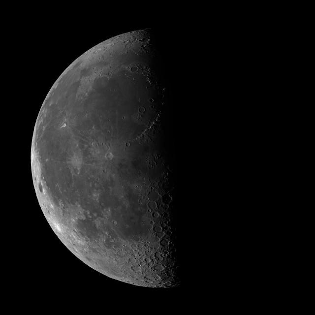 """Last quarter Moon on black sky background"" stock image"