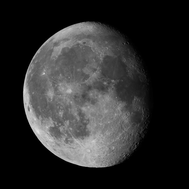 """""""Waning gibbous Moon on black sky"""" stock image"""