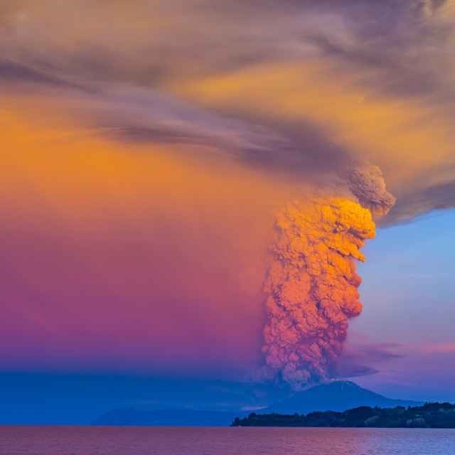 """Calbuco volcano in eruption 2015"" stock image"