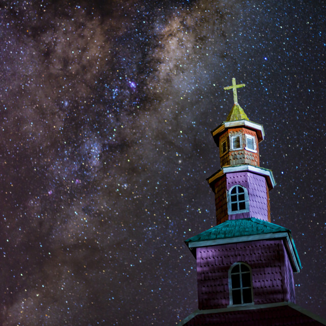 """Chiloé island, church in the night, Chile."" stock image"