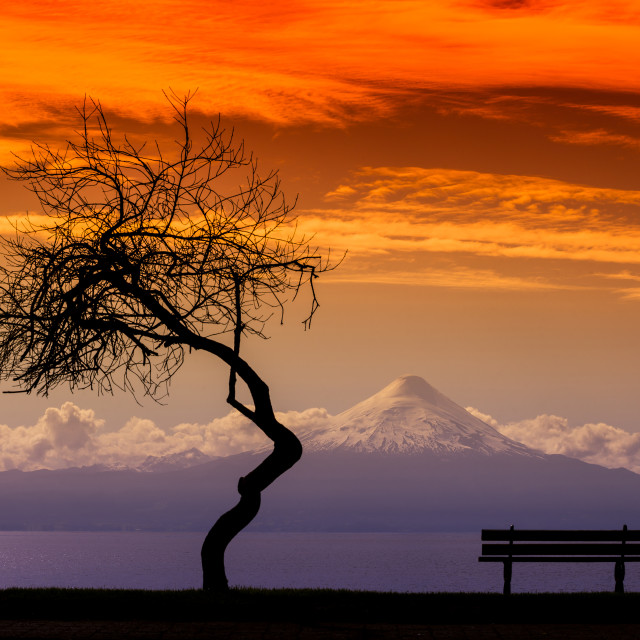 """Osorno Volcano, The lakes Region, Chile"" stock image"
