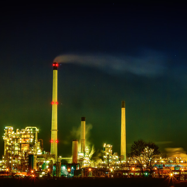 """""""INDUSTRY AT NIGHT"""" stock image"""
