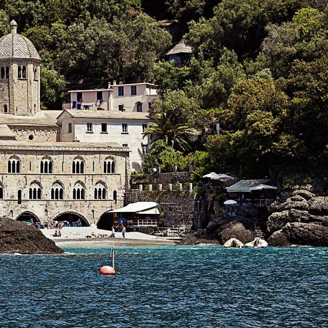 """""""GENOA, ITALY- The breathtaking bay of San Fruttuoso near Genoa"""" stock image"""