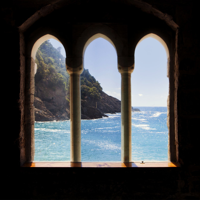 """Mediterranean sea view from an ancient monastery"" stock image"