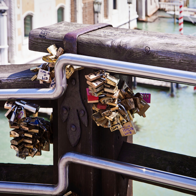 """Venice, italy - love padlocks locked to Accademia bridge"" stock image"