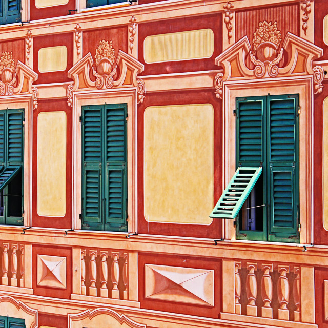 """""""Liguria, Italy - painted house trompe-l'oeil detail"""" stock image"""