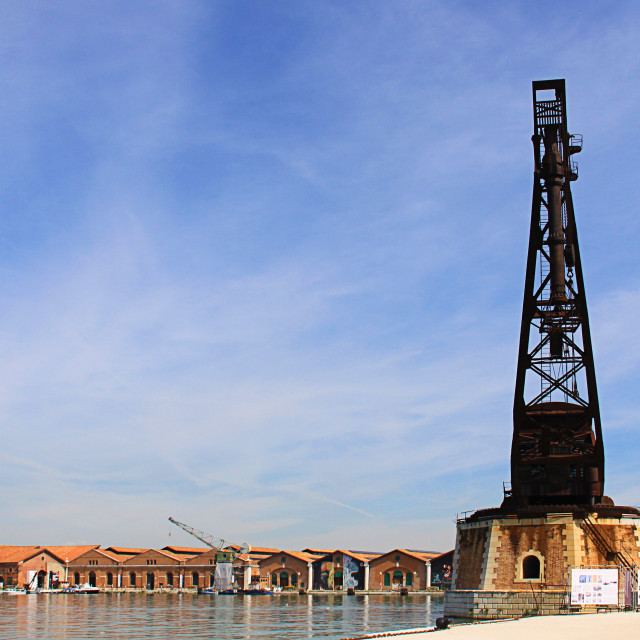 """Venice, Italy - Warehouses and old crane at venice Arsenal"" stock image"