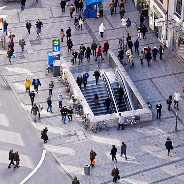 """""""People walking, urban view from above"""" stock image"""