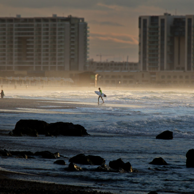 """""""A surfer on the beach"""" stock image"""