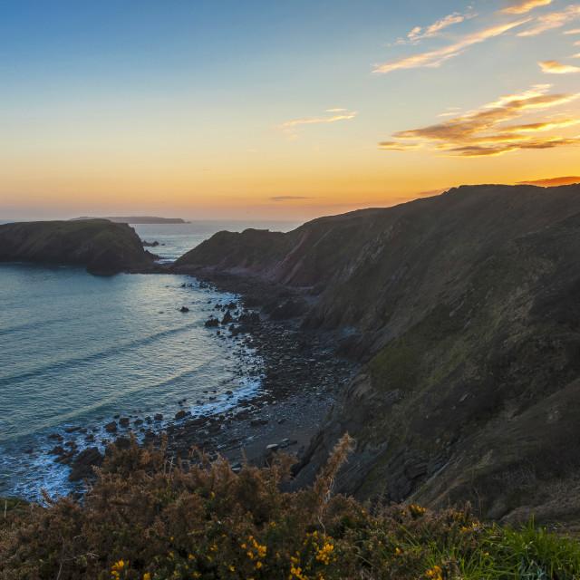 """""""Gateholm Sunset - Pembrokeshire Wales, UK."""" stock image"""