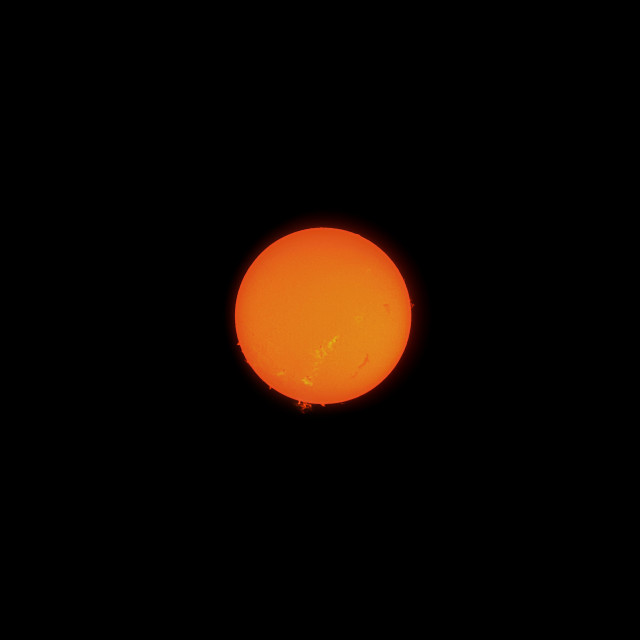 """Sun in h-alpha emission line against black background"" stock image"