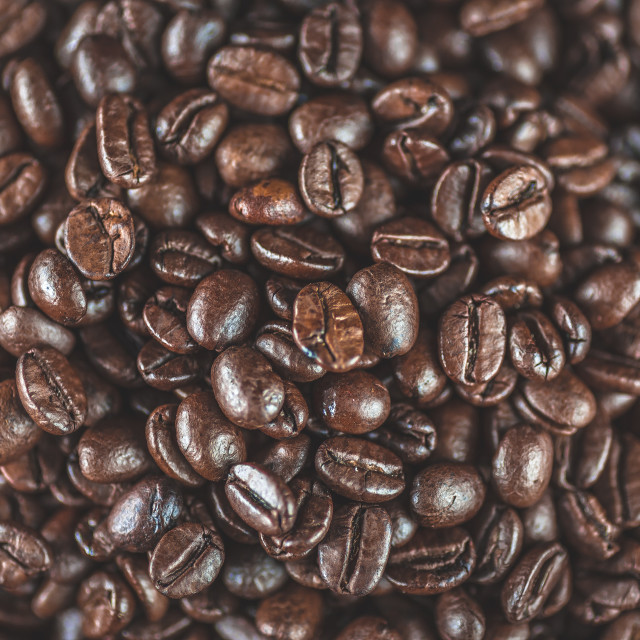 """""""Coffee beans close up macro with selective focus. Vivid colored overhead shot.Concept for freshness, morning, cozy lifestyle."""" stock image"""