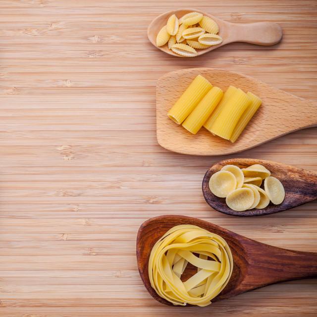 """Italian foods concept and menu design . Various kind of Pasta Fettuccine..."" stock image"
