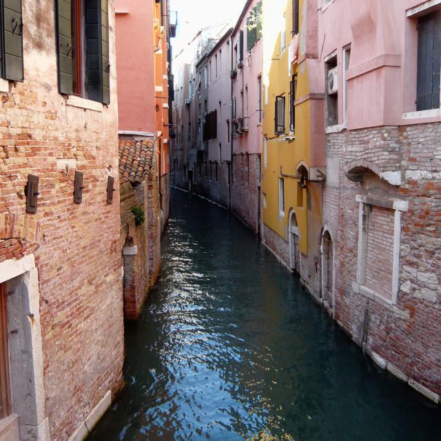 """narrow canal, Venice."" stock image"