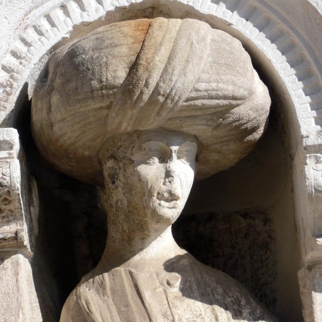 """Head of 'Moorish' statue, Venice."" stock image"