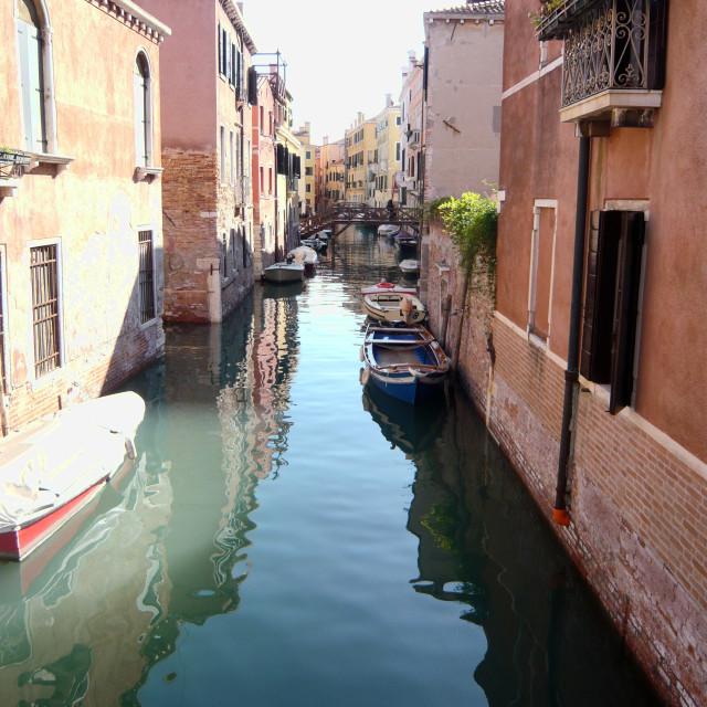 """Peaceful canal, Venice."" stock image"
