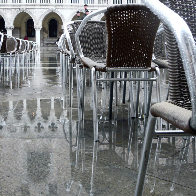 """Chairs in St Mark's Square, Venice. (2)"" stock image"