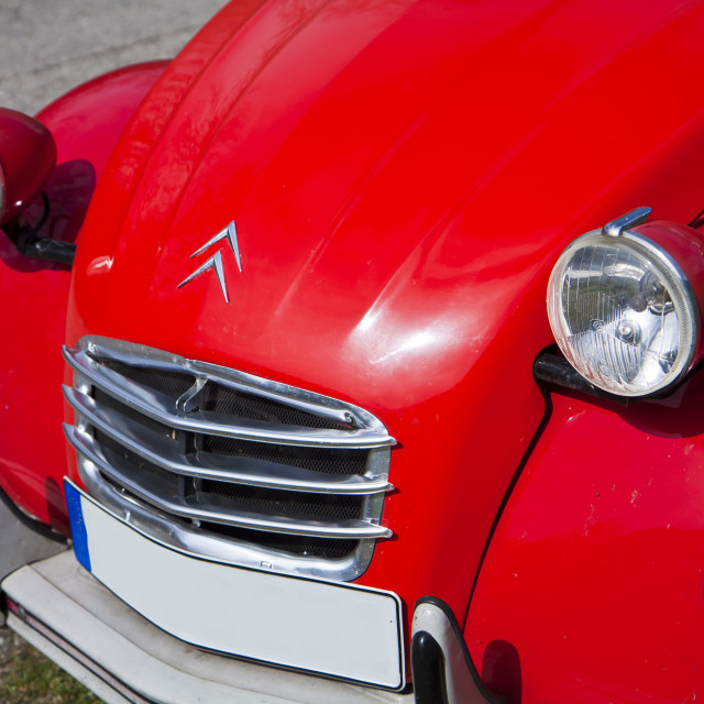 """""""French Citroen 2CV red, frontal view, detail"""" stock image"""