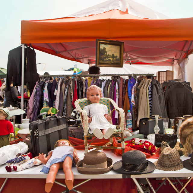 """MUNICH Germany -Open air giant flea market (Riesenflohmarkt)"" stock image"