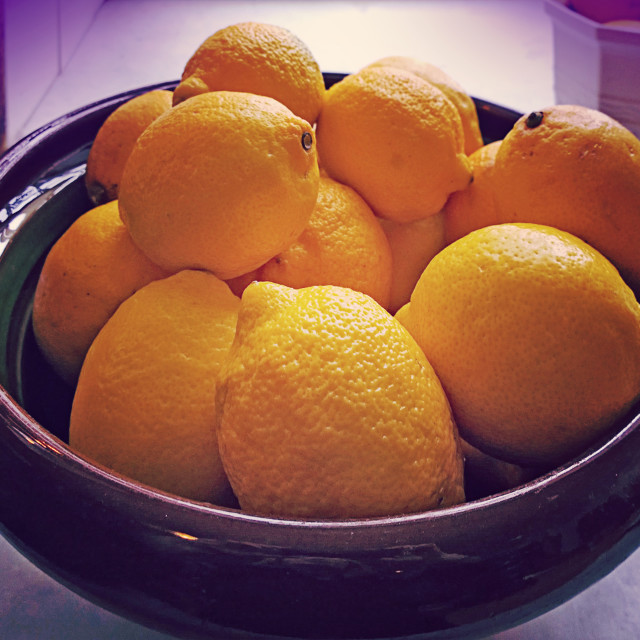 """""""Bowl with yellow harvested lemons"""" stock image"""