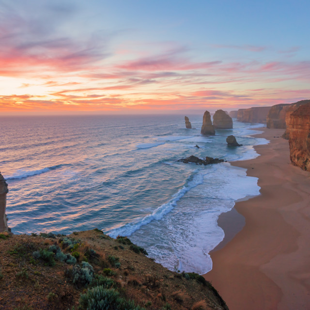 """Dramatic sunset sky at The Twelve Apostles, Great Ocean Road"" stock image"