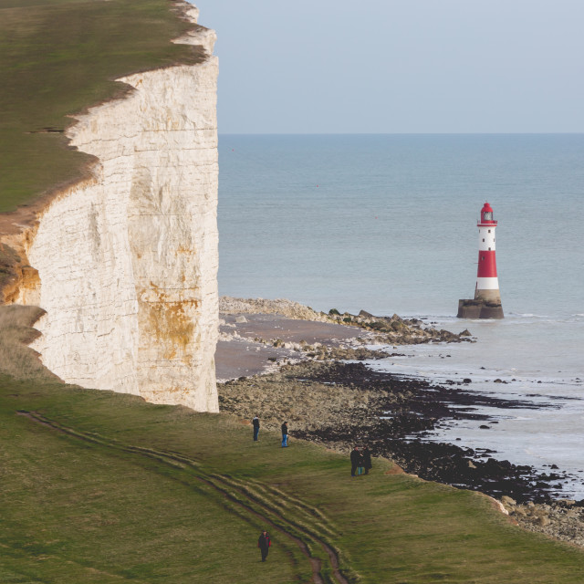 """New lighthouse in Seven Sisters Cliffs in UK at chalk rocks"" stock image"