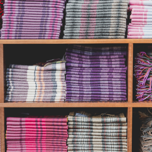 """""""Table of parallel boxes for collection of cashmere scarfs"""" stock image"""