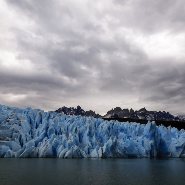 """""""Grey lake and glacier, Torres del Paine, Chile"""" stock image"""