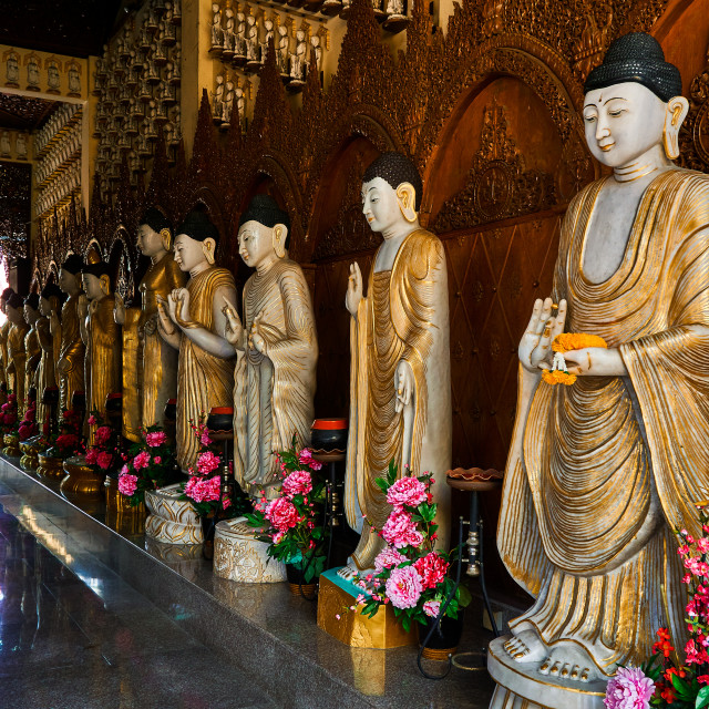"""Statues at Buddhist Temple, Penang"" stock image"