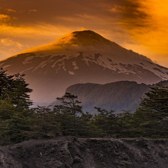 """Villarrica volcano, Pucón, Chile"" stock image"