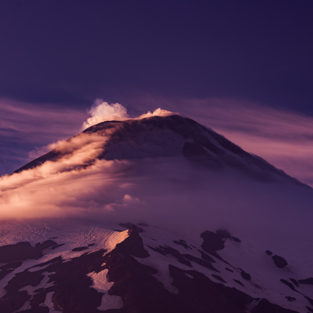 """Sunrise in Villarrica volcano, Pucón, Chile"" stock image"