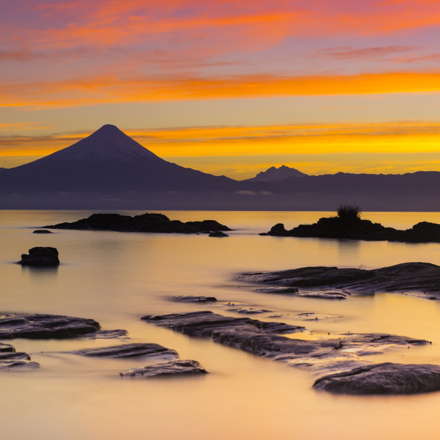 """Osorno Volcano and LLanquihue lake, Chile"" stock image"