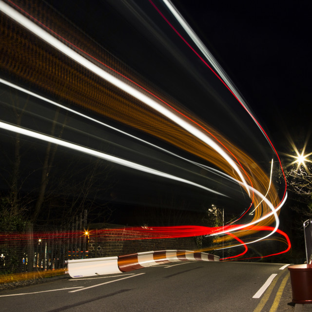 """Light Trail Bridge"" stock image"