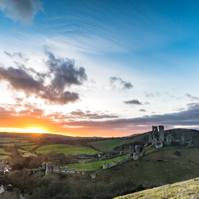 """Corfe Castle, Sunset 2017"" stock image"