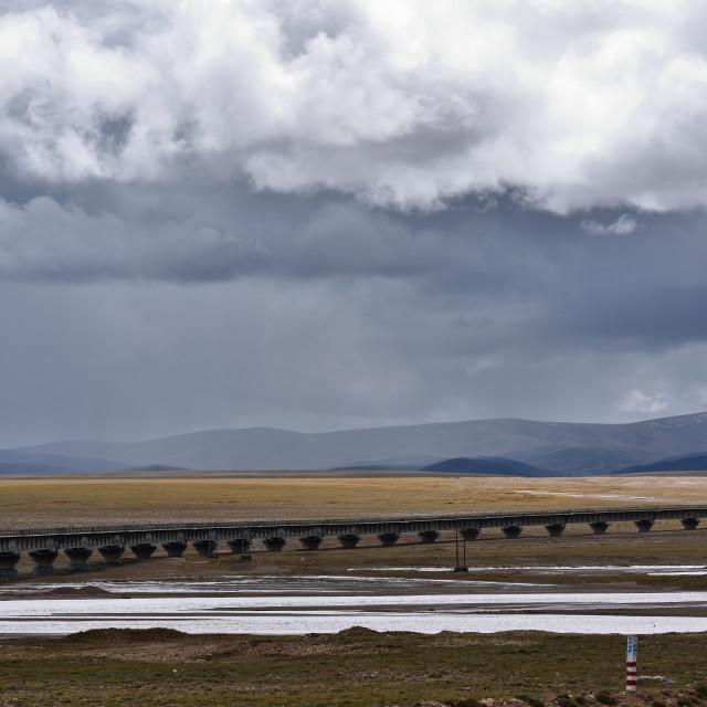 """""""The railway bridge on the altitude 4500 meters"""" stock image"""