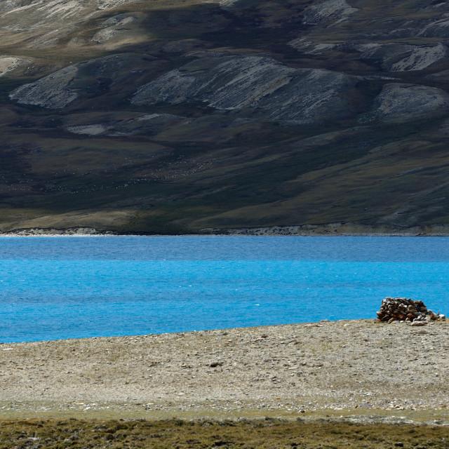 """""""Blue lake of Tibet"""" stock image"""