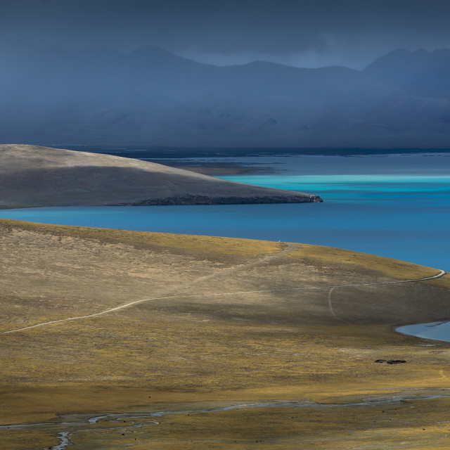 """A lake of Tibet, incredible blue."" stock image"