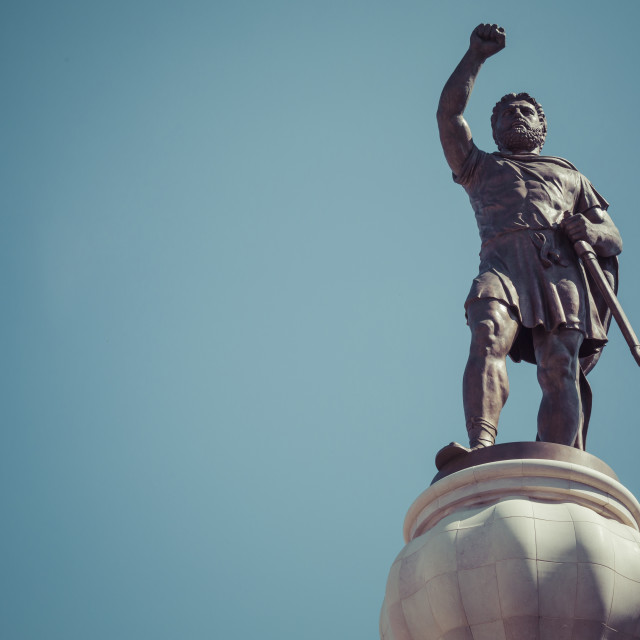 """""""Statue of Filip II, father of Alexander the Great monument, Church, statues..."""" stock image"""