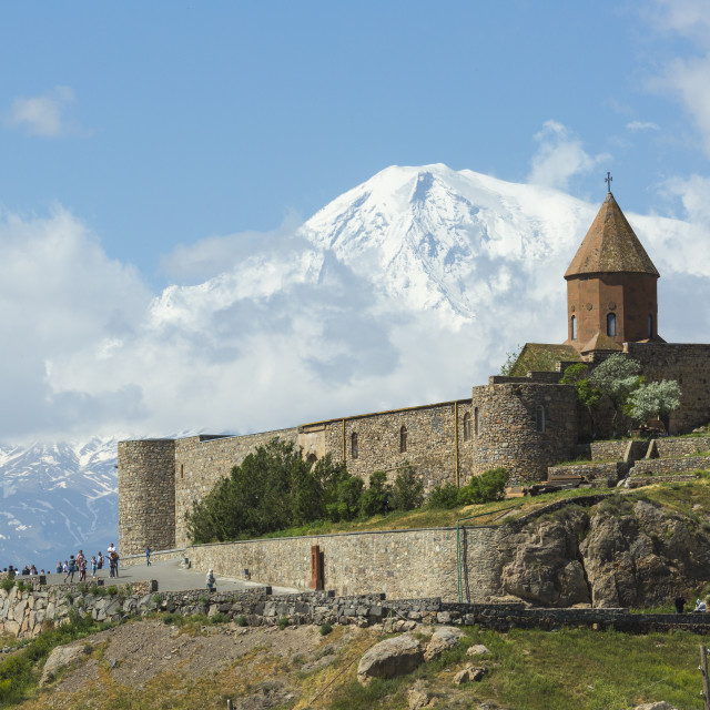 """The Khor Virap is an Armenian monastery , located in the Ararat plain in..."" stock image"