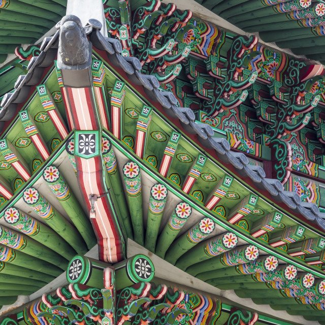"""Details of Gyeongbokgung Palace. Traditional Architecture in Korea, Seoul."" stock image"