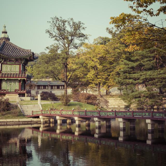 """Autumn at Gyeongbokgung Palace in Seoul,Korea."" stock image"