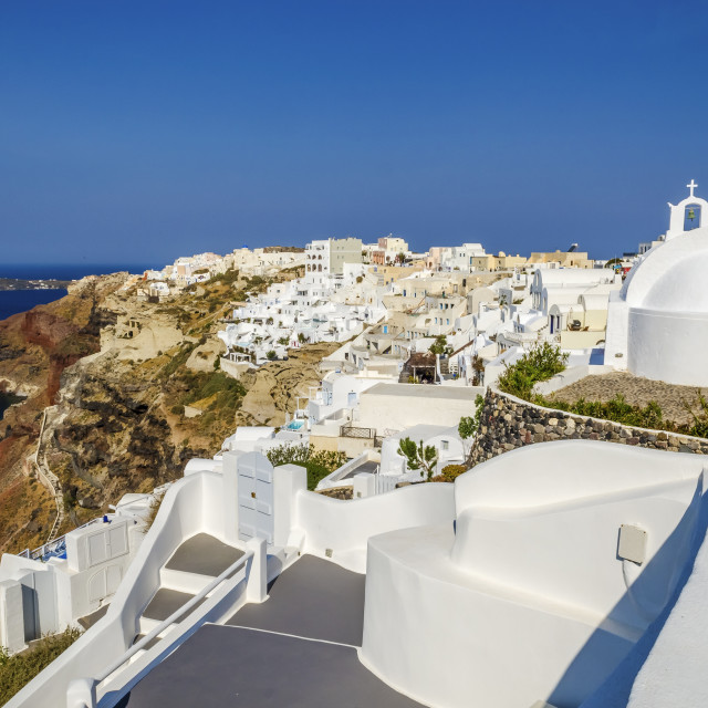 """White church in Oia"" stock image"