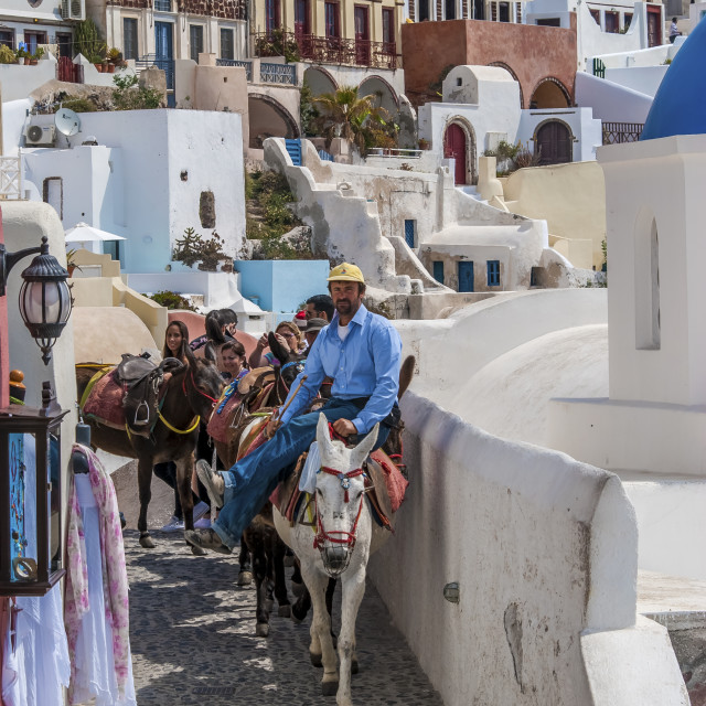 """In the streets of Oia"" stock image"