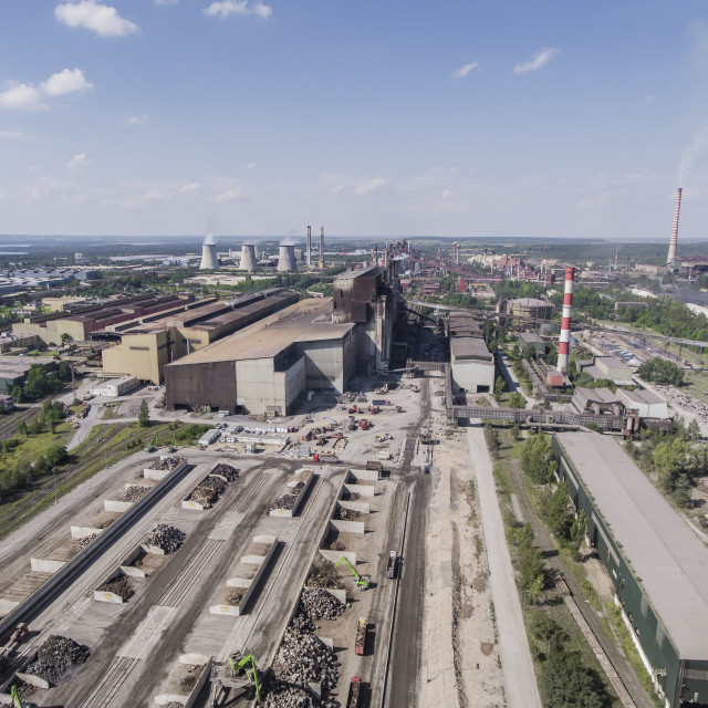"""Steel factory with smokestacks at sunny day.Metallurgical plant. steelworks,..."" stock image"
