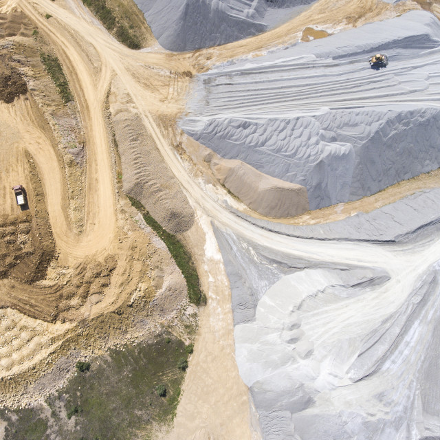 """Aerial view over the building materials processing factory. Sand mine. View..."" stock image"