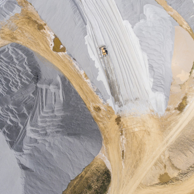 """""""Aerial view over the building materials processing factory. Sand mine. View..."""" stock image"""